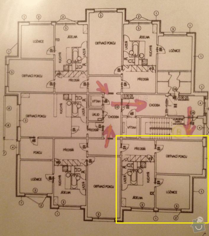 Rekonstrukce panelového bytu 52 m2: pudorys_patra