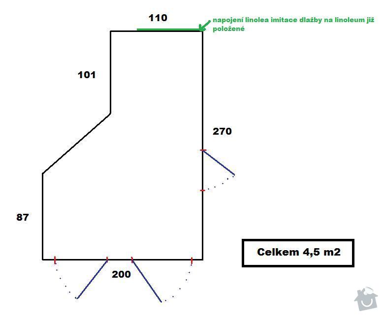 Pokládka linolea 4,5 m2: Chodba