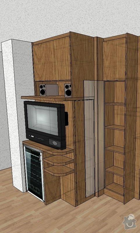 Funkční skříň na míru s prostorem pro vinotéku a TV: skrin-0001-vizual