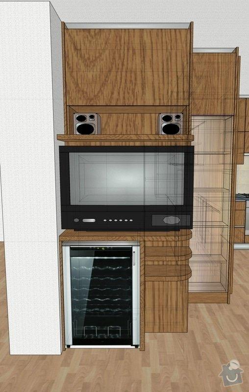 Funkční skříň na míru s prostorem pro vinotéku a TV: skrin-0003-vizual