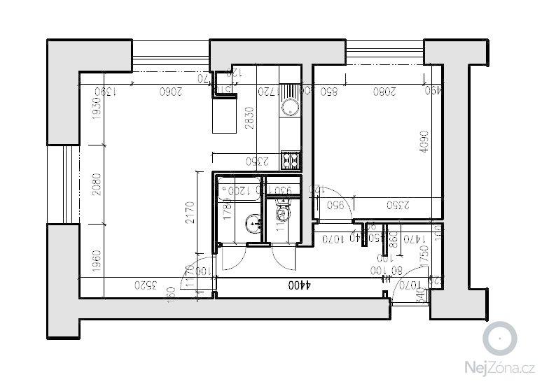 Rekonstrukce bytu 2+kk (54m2): Horanska_pudorys