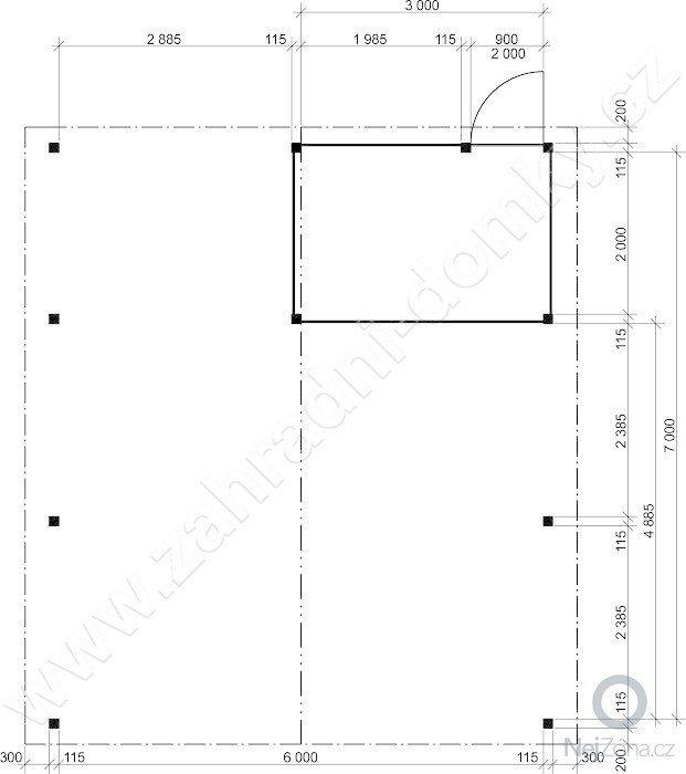 Garážové stání pro 2 auta: garazove-stani-sedlova-strecha_pudorys