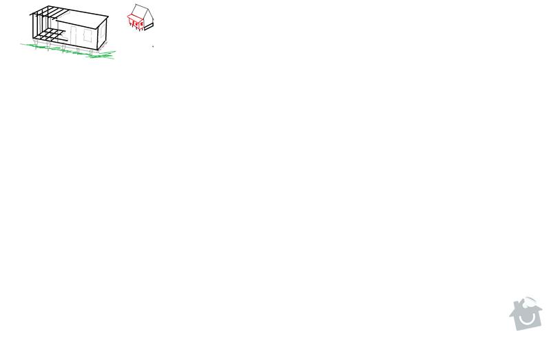 Pristavek chaty, tesarska prace: chata_konstrukce
