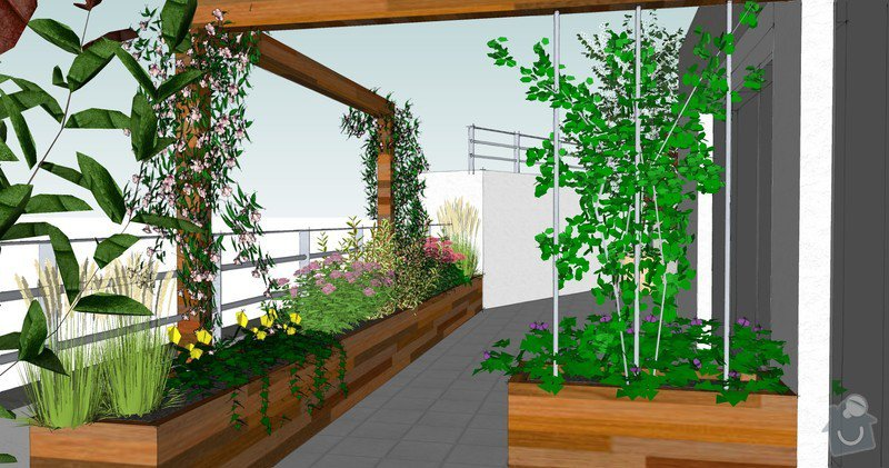Výroba terasových truhlíků + pergola + lavice s uložným prostorem: pohled_od_detskeho_pokoje
