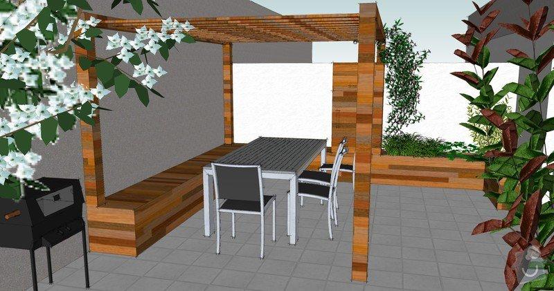 Výroba terasových truhlíků + pergola + lavice s uložným prostorem: pohled_pergola