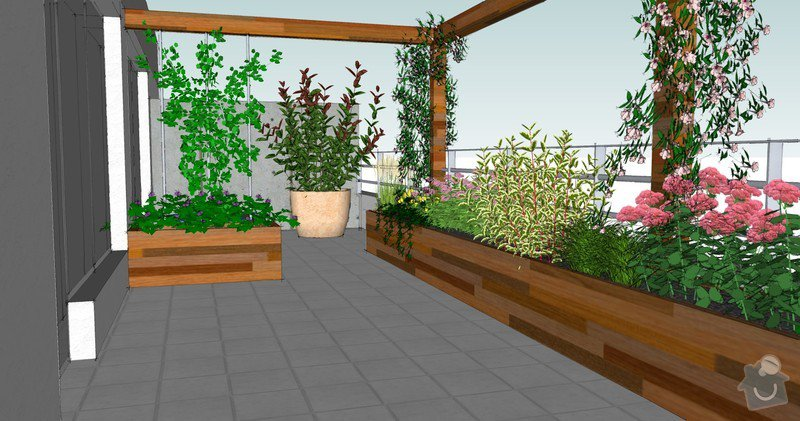 Výroba terasových truhlíků + pergola + lavice s uložným prostorem: pohled_terasa_jih