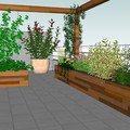 Vyroba terasovych truhliku pergola lavice s uloznym prostorem pohled terasa jih