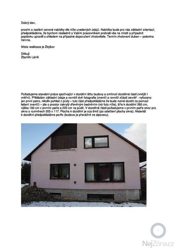 Zednické práce (dozdění a omítnutí štítu cca 6m2): poptavka_dozdeni1