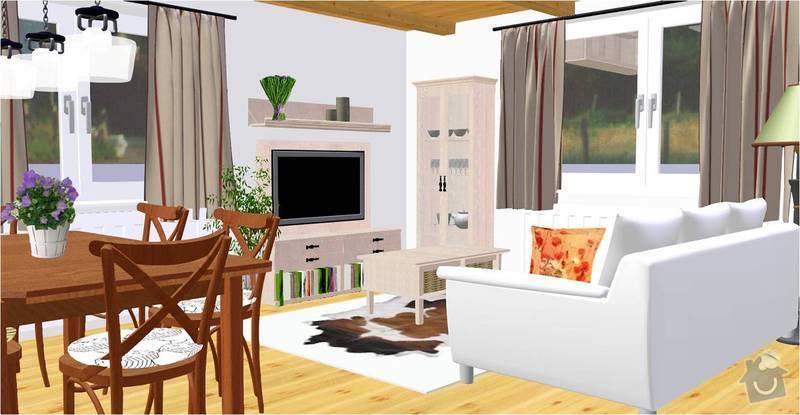 Návrh a vizualizace interiéru RD: obyvak_vizualizace