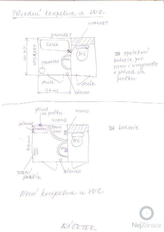 Rekonstrukce umakartového jádra a koupelny a WC v panelákovém bytě: koupelna_nacrtek