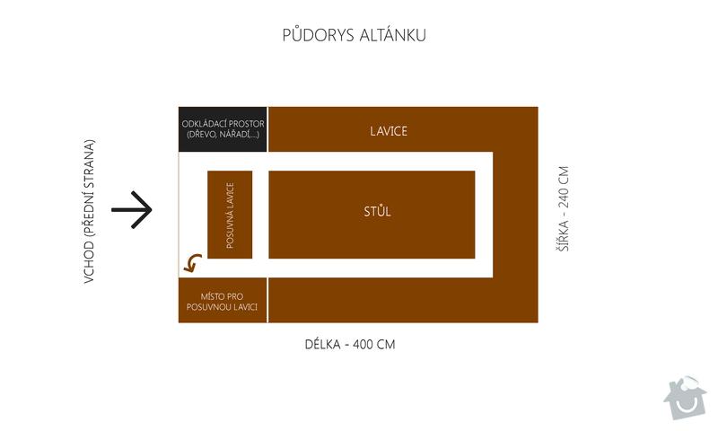 Výroba a montáž dřevěného altánu, 240 x 400 x 240 cm: pudorys_altanku