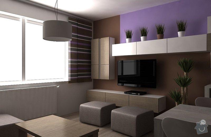 Návrh interiéru - 5 místností, fasáda: obyvak