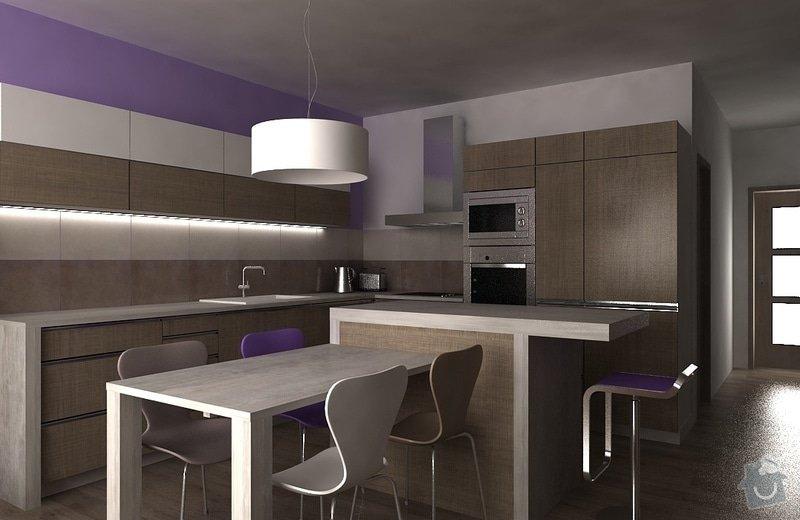 Návrh interiéru - 5 místností, fasáda: kuchyn