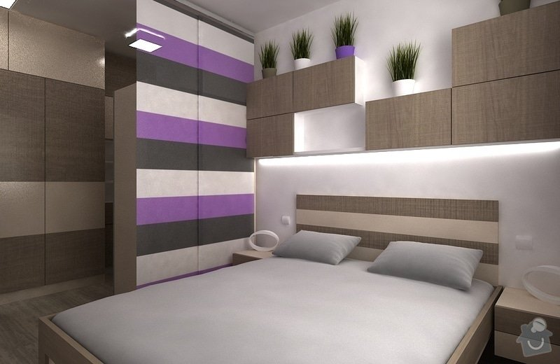 Návrh interiéru - 5 místností, fasáda: loznice