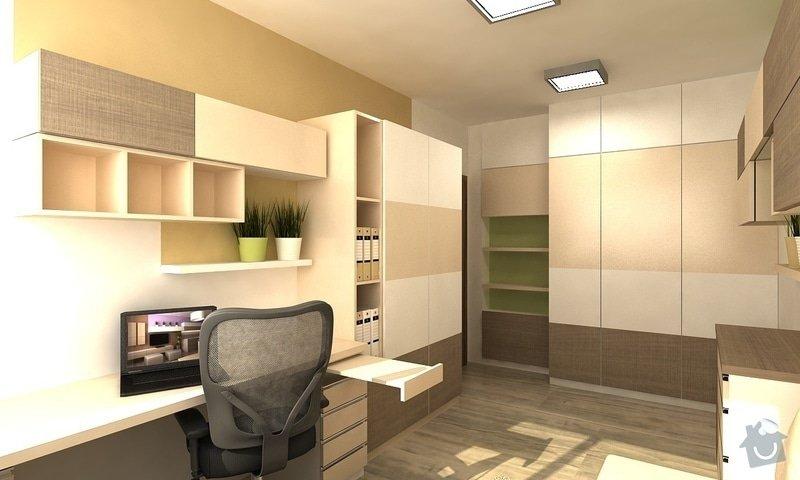 Návrh interiéru - 5 místností, fasáda: pracovna