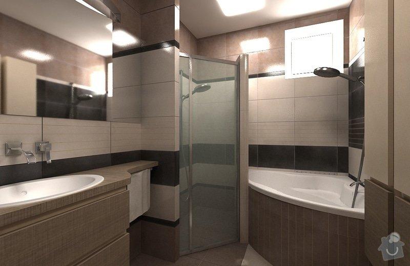 Návrh interiéru - 5 místností, fasáda: koupelna