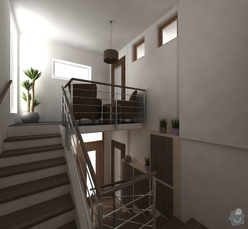 Návrh interiéru - 5 místností, fasáda: schodiste