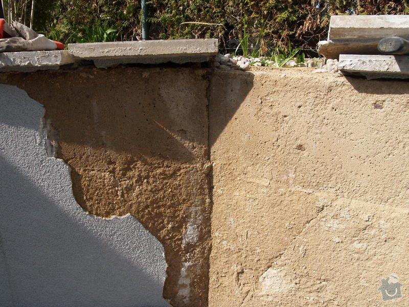 Oprava venkovni omitky a natazeni fasadni barvou; nahozeni a nastukovani venkovniho krbu do kulata: P4172754