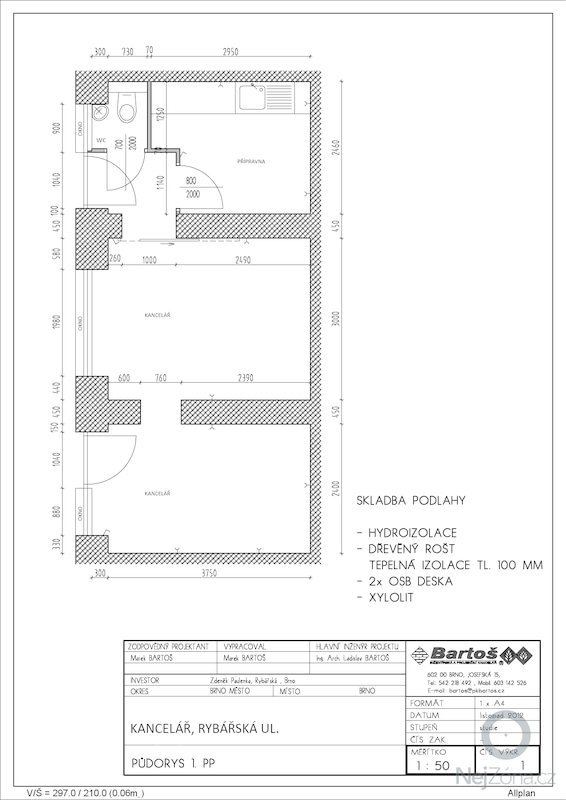 Rekonstrukci a přestavbu skladovacích sklepních prostor na kancelář: projekt_kancelar