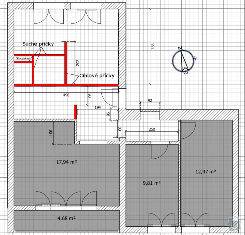 Rekonstrukce bytového jádra: stavajici