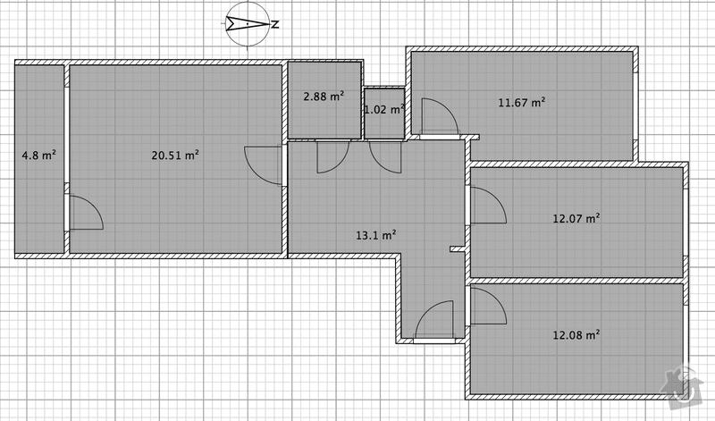 Rekonstrukce elektroinstalace, panalak 3+1: byt_pudorys