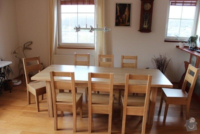 Stůl jídelní dub masiv + 8 židlí na zakázku: IMG_6464