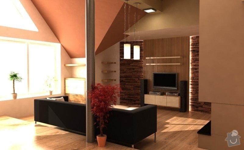Návrh interieru obývacího pokoje s jídelním koutem a návrh zádveří: NesvadboviVizualizace
