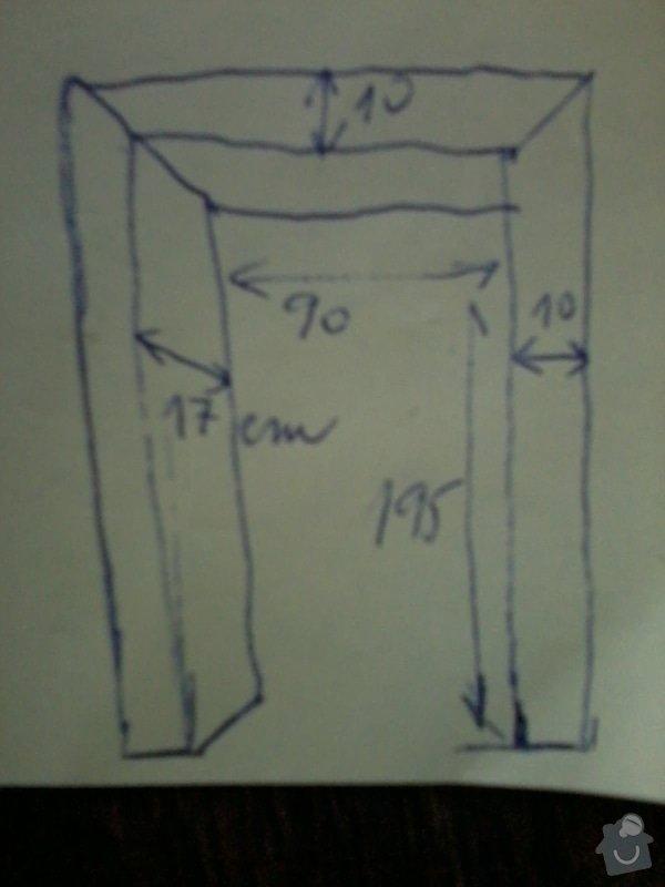 Výroba atypické obložky zárubně z masivu: futra_nakres