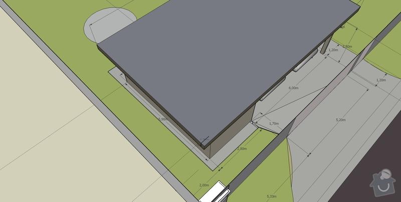 Stavba pristresku na auta + kolna: pristresek_pohled_JZ_shora