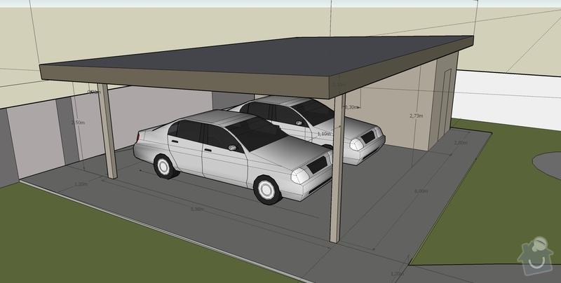 Stavba pristresku na auta + kolna: pristresek_pohled_SV