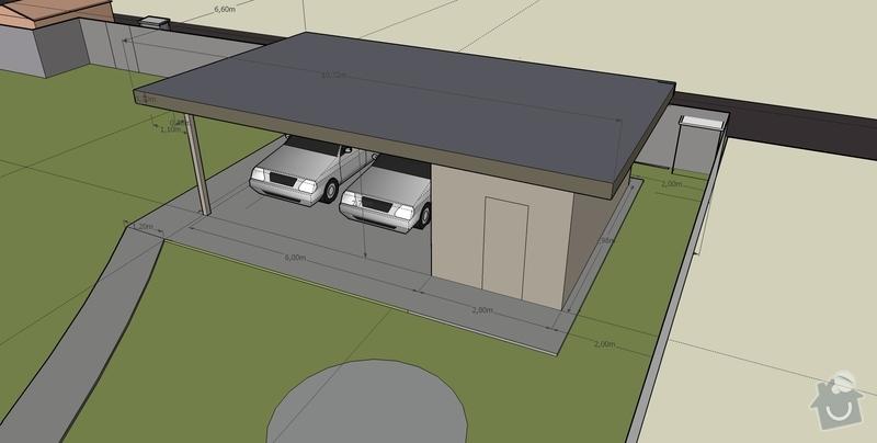 Stavba pristresku na auta + kolna: pristresek_pohled_SZ_shora