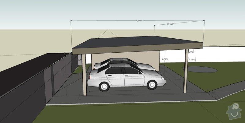 Stavba pristresku na auta + kolna: pristresek_pohled_V