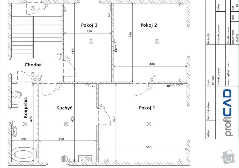 Komplet výměna elektroinstalace dvougenerační dům: Prizemi
