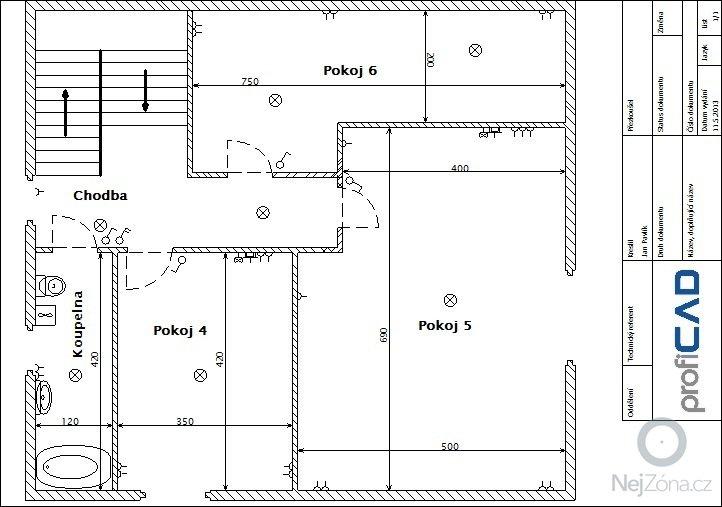 Komplet výměna elektroinstalace dvougenerační dům: 1.patro
