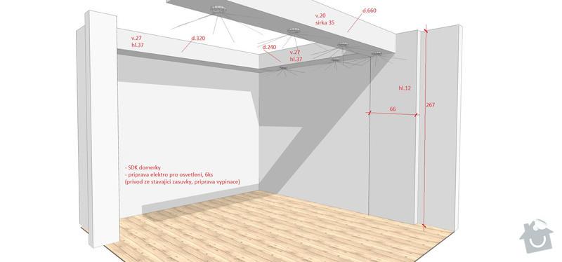 Sádrokartonový podhled, prodloužení zdi: Strn_SDK