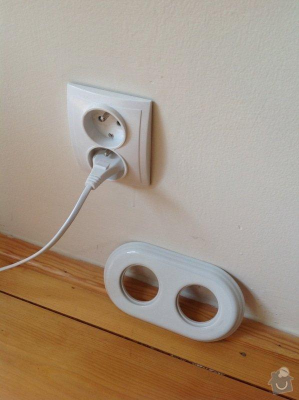Elektroinstalační práce (výměna zásuvek a změna zásuvky na světlo): Dvojzasuvka