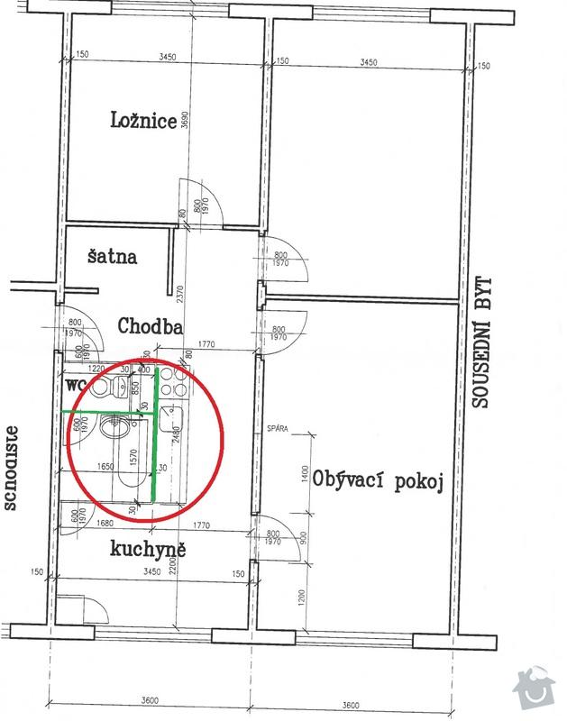 Přestavba bytového jádra: Pudorys