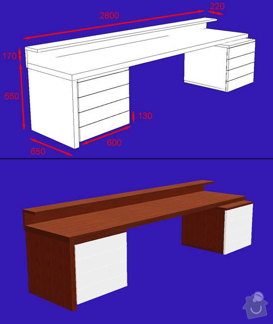 Truhlářské práce - psací stůl - mořená dýha: stul_kontejnery