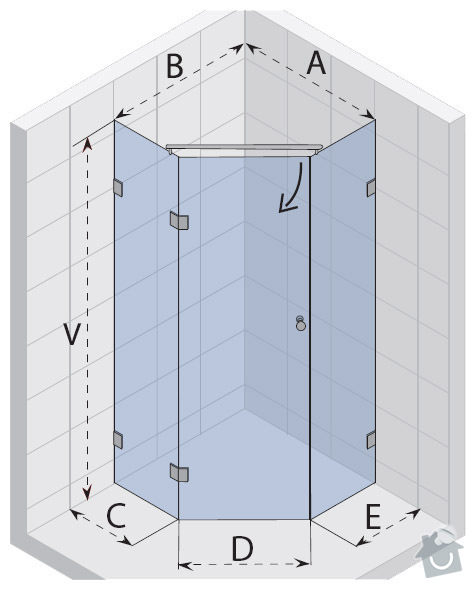 Sprchový kout s odtokovým žlabem+dlažba, montáž sprchové zástěny: sprcha-kout_nakres