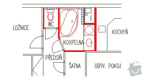 Voda + odpad, kuchyne, koupelna, WC, Odstraneni jednoho topeni + jedna vymena: byt_zoom