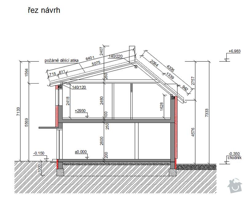 Hrubá stavba rodinného domu a demolice původní stavby: rez-schema