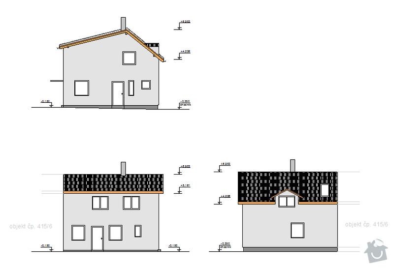 Hrubá stavba rodinného domu a demolice původní stavby: pohledy