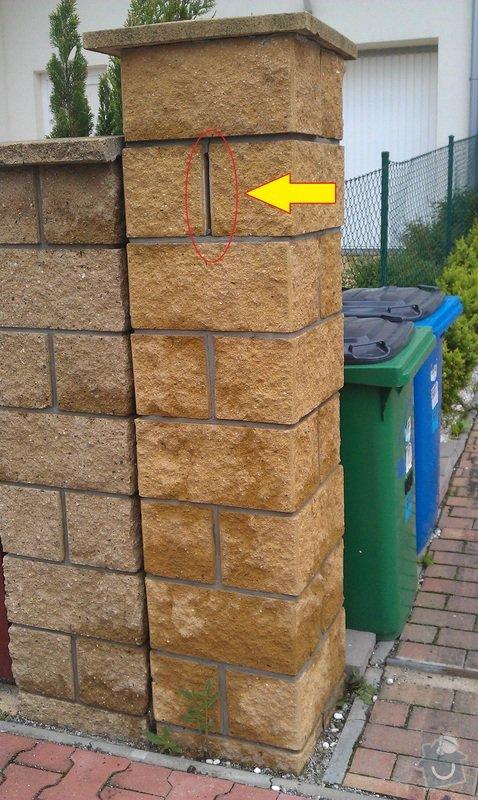 Oprava zděného plotu.: sloupek3