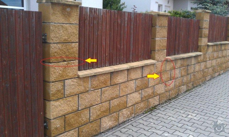 Oprava zděného plotu.: sloupky1a2