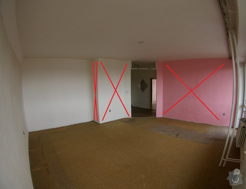Bourání příček, výstavba příček ze SDK, rekonstrukce bytového jádra a pokládka dlažby: IMGP6316