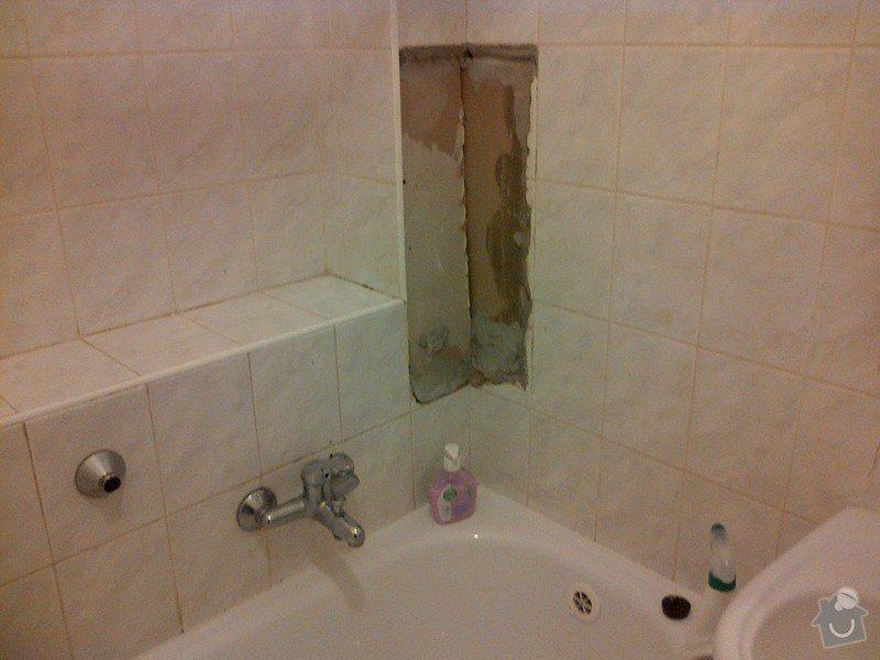 Úprava vnitřní omítky, doplnění dlaždiček v koupelně, wc a kuchyni: koupelna