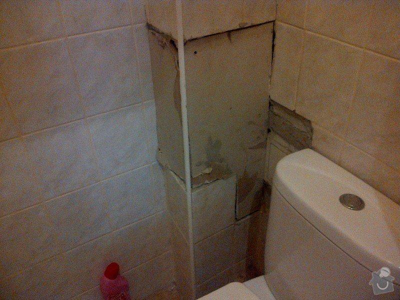 Úprava vnitřní omítky, doplnění dlaždiček v koupelně, wc a kuchyni: zachod