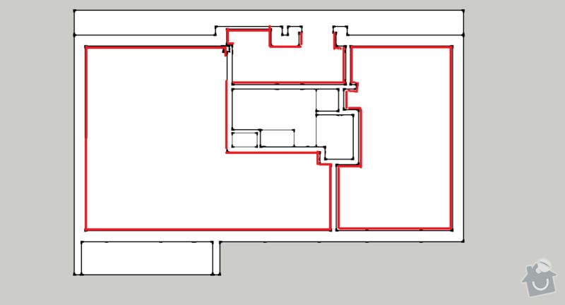 Nahození omítek malý byt (50 m2): pudorys_omitky