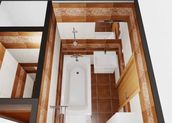 Kompletní přestavba zděné koupelny a toalety, 3D návrh,  renovace podlah