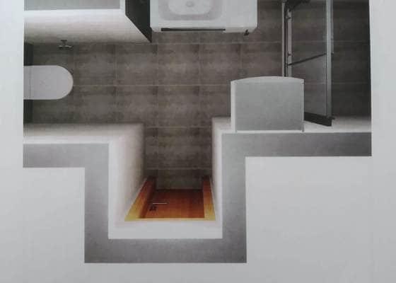 Obložení koupelny, včetně instalace sprchové vaničky a sprchových dveří